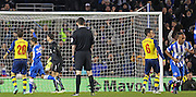 Brighton's Chris O'Grady celebrates his goal far right during the The FA Cup match between Brighton and Hove Albion and Arsenal at the American Express Community Stadium, Brighton and Hove, England on 25 January 2015. Photo by Phil Duncan.