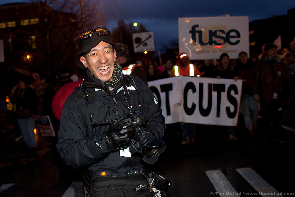 Thursday, November 17, 2011, Seattle, WA.Occupy Seattle, a part of the Occupy Wall Street movement, demonstrated and held a march from Montlake to University Bridge where demonstrators shut down the bridge for over an hour in the middle of rush hour. Labor unions joined the protest.