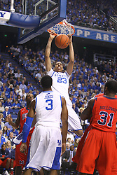 UK forward Anthony Davis dunks in the first half. UK hosted Ole Miss Saturday, Feb. 18, 2012 at Rupp Arena in Lexington . Photo by