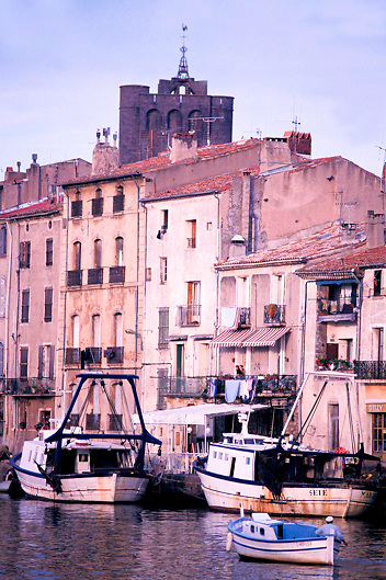 View of historic town of Agde in the Languedoc Roussillon region of South of France