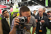Photokina 2010, World's biggest bi-annual photo fair. Fuji Finepix X100 - the show's most beautiful camera, a retro-style APS-C hybrid viewfinder camera.