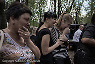 Ukraine, Donetsk: Mark Zverev's relative react at his funeral at Donetsk cemetery, on May 29, 2014.<br /> Zverev was a taxi driver who has been killed during clashes between pro-Russia supporters and Ukrainian army at Donetsk airport. ALESSIO ROMENZI