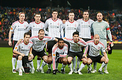 BUCHAREST, ROMANIA - Thursday, December 2, 2010: Liverpool's players line-up for a team group photograph before the UEFA Europa League Group K match against FC Steaua Bucuresti at the Stadionul Steaua. Back row L-R: Christian Poulsen, Fabio Aurelio, Martin Kelly, Danny Wilson, Sotirios Kyrgiakos, captain goalkeeper Jose Reina. Front row L-R: Joe Cole, Milan Jovanovic, Ryan Babel, Dani Pacheco and Jonjo Shelvey. (Pic by: David Rawcliffe/Propaganda)