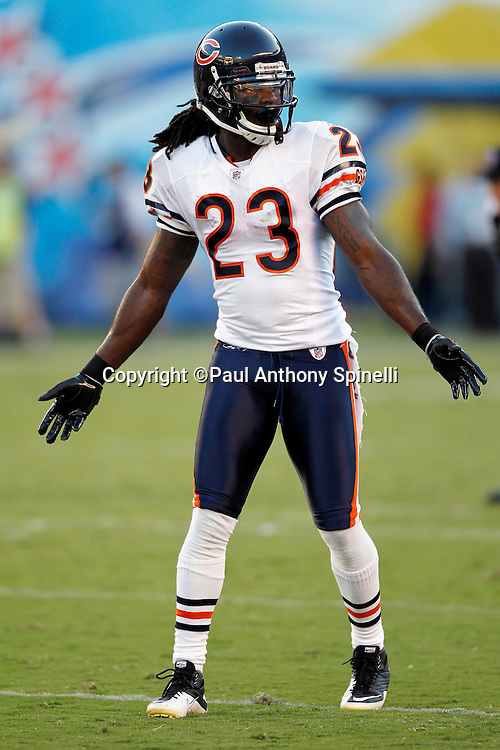 Chicago Bears wide receiver Devin Hester (23) waves his arms during a NFL week 1 preseason football game against the San Diego Chargers, Saturday, August 14, 2010 in San Diego, California. The Chargers won the game 25-10. (©Paul Anthony Spinelli)