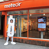 """Mr. Device arriving at the Meteor Store, O'Connell Street, Ennis to celebrate the launch of Meteor's mobile broadband offering """"Broadband to Go"""". Ennis joins 67 other towns and five major urban areas on Meteor's 3G high speed data network. Photograph by: Mike O'Flanagan/O'Flanagan Photography"""
