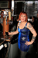 Alissa Atkinson behind the bar wearing a Dr. Who inspired outfit at the Dr. Who event at The Way Station Bar and Venue in Prospect Heights. Shot on March 31, 2013....Photo Credit ; Rahav Iggy Segev/Photopass.com