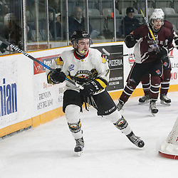 "TRENTON, ON  - MAY 3,  2017: Canadian Junior Hockey League, Central Canadian Jr. ""A"" Championship. The Dudley Hewitt Cup. Game 3 between Powassan Voodoos and the Dryden GM Ice Dogs.  Shane Beaulieu #7 of the Powassan Voodoos follows the play during the first period.<br /> (Photo by Tim Bates / OJHL Images)"
