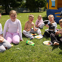 John, Mary, Shane, Jessica, Lee Curtin McNamara and Michael McDonagh enjoyig the sunshine after the intercultural soccer tournament in Ennis on Saturday.<br /> Photograph by Yvonne Vaughan