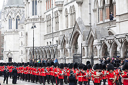 © Licensed to London News Pictures. 17/04/2013. London, United Kingdom. The funeral of Baroness Margaret Thatcher. The Coldstream Guards  passes the Royal Courts of Justice. London on the 17th April 2013. Photo credit LNP/Andrew Baker
