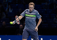 Tennis - 2017 Nitto ATP Finals at The O2 - Day Eight<br /> <br /> Mens Doubles: Final : Henri Kontinen (Finland) & John Peers (Australia) Vs Lukasz Kubot (Poland) & Marcelo Melo (Brazil) <br /> <br /> Henri Kontinen (Finland) with a backhand return at the O2 Arena<br /> <br /> COLORSPORT/DANIEL BEARHAM
