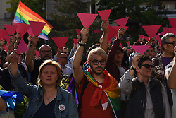 April 25, 2017 - Madrid, Madrid, Spain - People show pink cards as they protest in Madrid against the persecution of gay men in Chechnya. (Credit Image: © Jorge Sanz GarcíA/Pacific Press via ZUMA Wire)