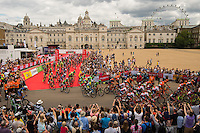 LONDON UK 31ST JULY 2016:  The start line, Horse Guards Parade. The Prudential RideLondon-Surrey 100 Sportive in London 31st July 2016<br /> <br /> Photo: Bob Martin/Silverhub for Prudential RideLondon<br /> <br /> Prudential RideLondon is the world's greatest festival of cycling, involving 95,000+ cyclists – from Olympic champions to a free family fun ride - riding in events over closed roads in London and Surrey over the weekend of 29th to 31st July 2016. <br /> <br /> See www.PrudentialRideLondon.co.uk for more.<br /> <br /> For further information: media@londonmarathonevents.co.uk