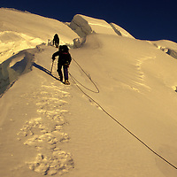 Weaving through crevasses on a winter ascent of Mt. Rainier via the Ingraham Glacier Direct.