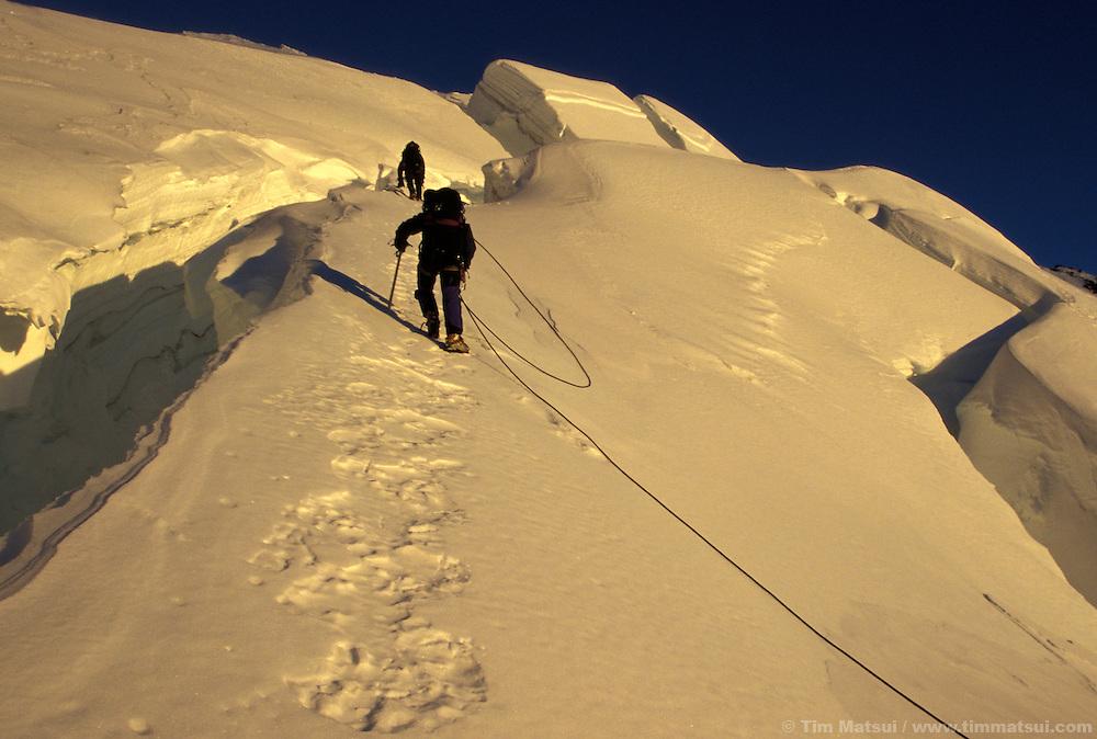 Weaving through crevasses on a winter ascent of Mt. Rainier via the Ingraham Glacier Direct.