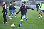 AFC Wimbledon attacker Egli Kaja (21) warming up during the EFL Sky Bet League 1 match between AFC Wimbledon and Charlton Athletic at the Cherry Red Records Stadium, Kingston, England on 10 April 2018. Picture by Matthew Redman.