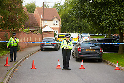 © Licensed to London News Pictures. 20/10/2019. Milton Keynes, UK. Police officer guard an extended cordon near the scene in Archford Croft in Emerson Valley where two 17 year old boys were stabbed to death overnight. Two adult males where also injured. Thames Valley Police have begun a double murder investigation but have yet to make any arrests.  Photo credit: Cliff Hide/LNP