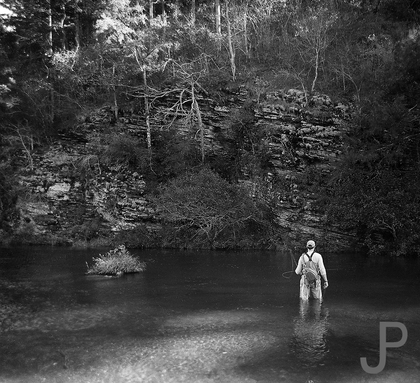 "Trout fishing at Beaver's Bend State Park, shot on 4""x5"" black and white Kodak Plus-X Pan film."