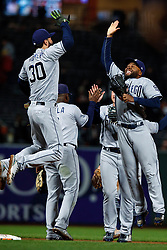 SAN FRANCISCO, CA - SEPTEMBER 24: Eric Hosmer #30 of the San Diego Padres celebrates with Manuel Margot #7 after the game against the San Francisco Giants at AT&T Park on September 24, 2018 in San Francisco, California. The San Diego Padres defeated the San Francisco Giants 5-0. (Photo by Jason O. Watson/Getty Images) *** Local Caption *** Eric Hosmer; Manuel Margot