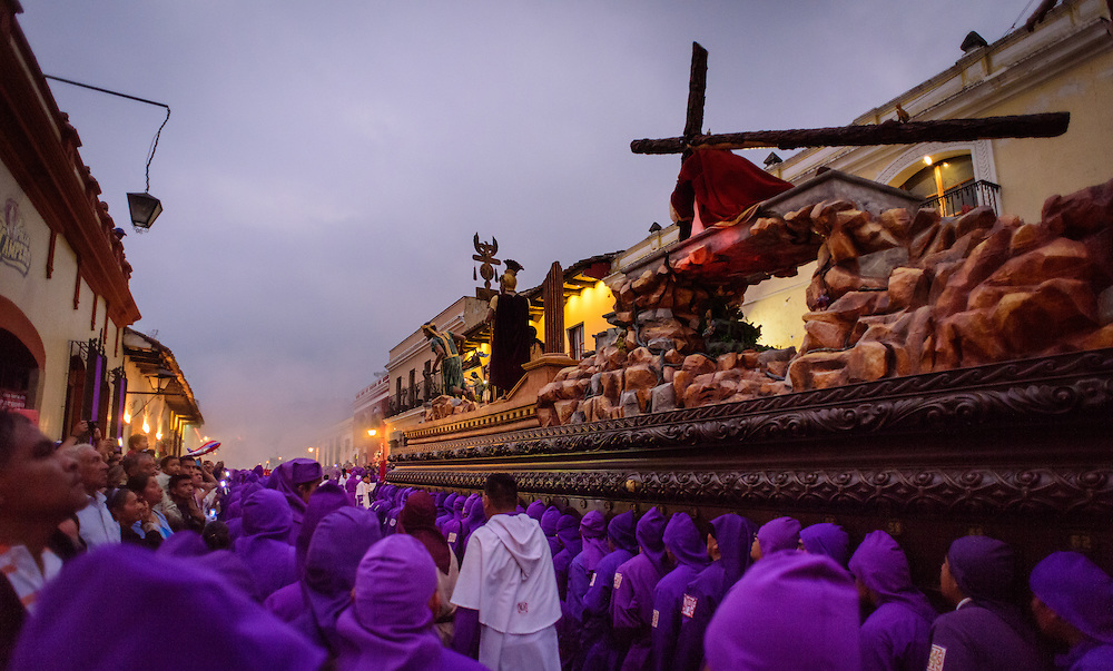 Procession just before Eastern with a hugh Jezus Christ statue being carried around the streets of Antigua, Guatemala.