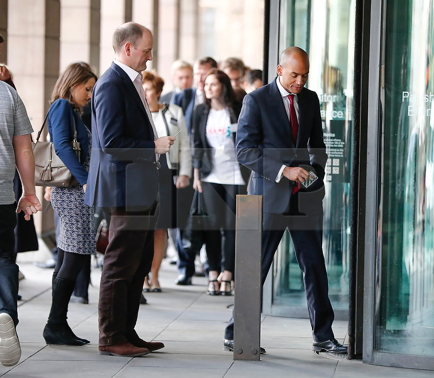 © Licensed to London News Pictures. 18/04/2017. London, UK. UKIP MP DOUGLAS CARSWELL  and Labour MP CHUKA UMUNNA seen arriving at the Houses of Parliament on the day that British Prime Minister Theresa May announced a snap general election for June 8th, 2017. Photo credit: Tolga Akmen/LNP