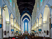 09 JULY 2017 - SINGAPORE: Interior of Saint Andrew's Cathedral, an Anglican cathedral in Singapore. It is the country's largest cathedral. It's the Cathedral church of the Anglican Diocese of Singapore and the mother church of her 27 parishes and more than 55 congregations. A church existed on the site since 1836, the current church however was built in 1856–1861.   PHOTO BY JACK KURTZ