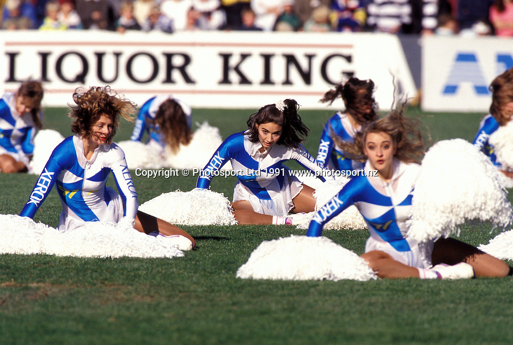 91FM Cheerleaders at Eden Park, Auckland, 8 June 1991. Photo: Andrew Cornaga/PHOTOSPORT