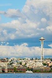 United States, Washington, Seattle. Seattle skyline from Elliott Bay, featuring the Space Needle.