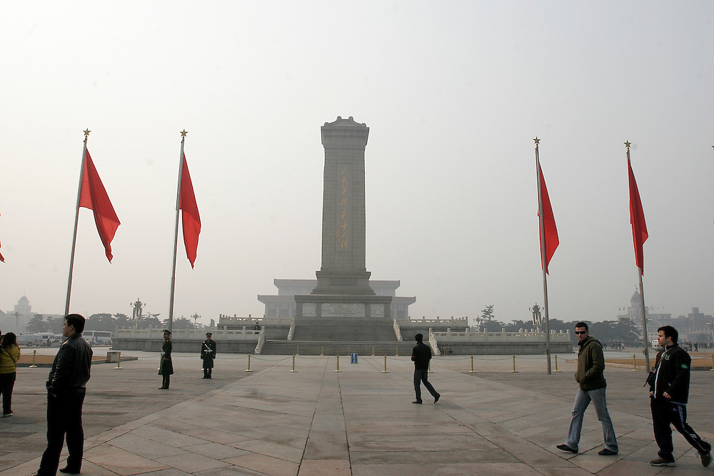 The Monument to the People's Heroes was built in 1952, and stands in the center of the Tiananmen Square Beijing, China. Tiananmen is 100 acres and holds the record as the largest public square in the world.