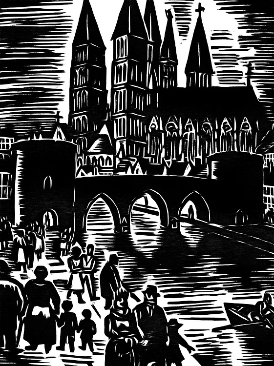 A black / white drawing of a walk in the city