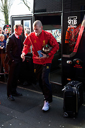 WEST BROMWICH, ENGLAND - Sunday, February 2, 2014: Liverpool's Martin Skrtel steps off the team coach as the squad arrive at The Hawthorns ahead of the Premiership match against West Bromwich Albion at the Hawthorns. (Pic by David Rawcliffe/Propaganda)