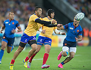London, Great Britain,  Paula KINIKINILAU, clearing the ball, during the, France vs Romania. 2015 Rugby World Cup, Pool D, venue. The Stadium Queen Elizabeth Olympic Park. Stratford. East London. England,, Wednesday  23/09/2015. <br /> [Mandatory Credit; Peter Spurrier/Intersport-images]