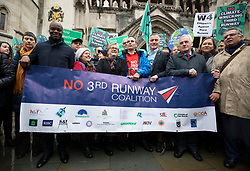 © Licensed to London News Pictures. 27/02/2020. London, UK. Shadow Chancellor John McDonnell joins protesters who oppose the expansion of Heathrow Airport outside the High Court. Judges will deliver their ruling on a number of appeals against the planned construction of a third runway at the London airport. Photo credit: Rob Pinney/LNP
