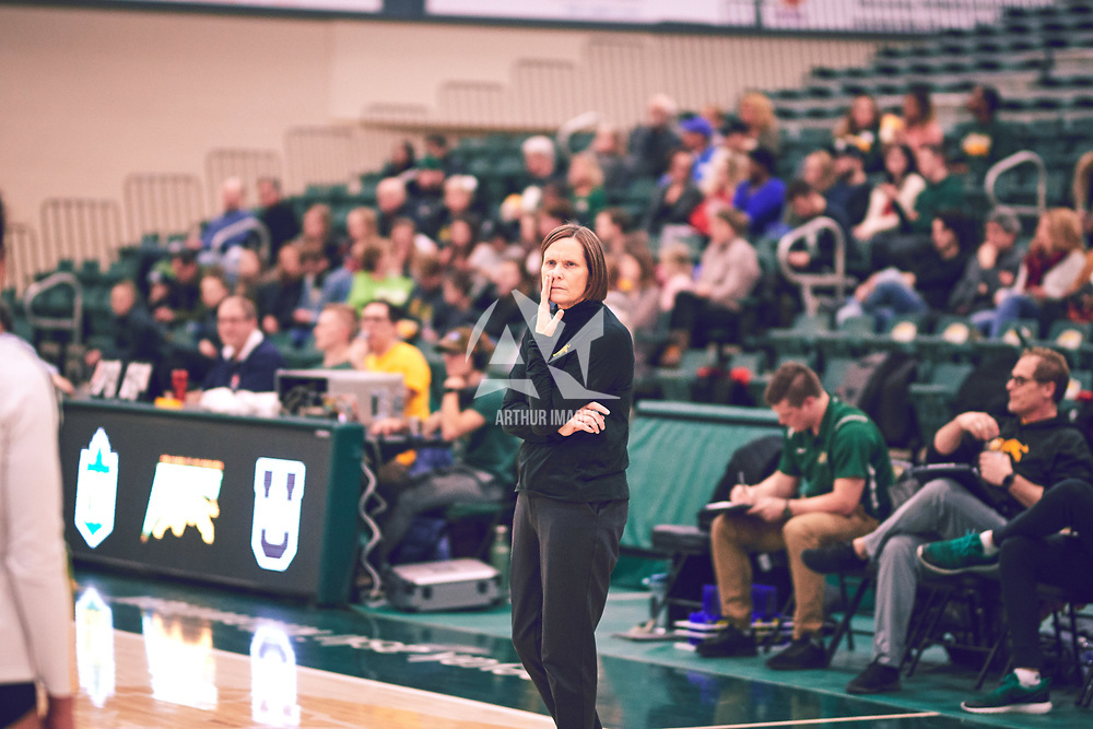 Head Coach, Melanie Sanford of the Regina Cougars during the Women's Volleyball home game on Fri Jan 18 at Centre for Kinesiology, Health & Sport. Credit: Arthur Ward/Arthur Images