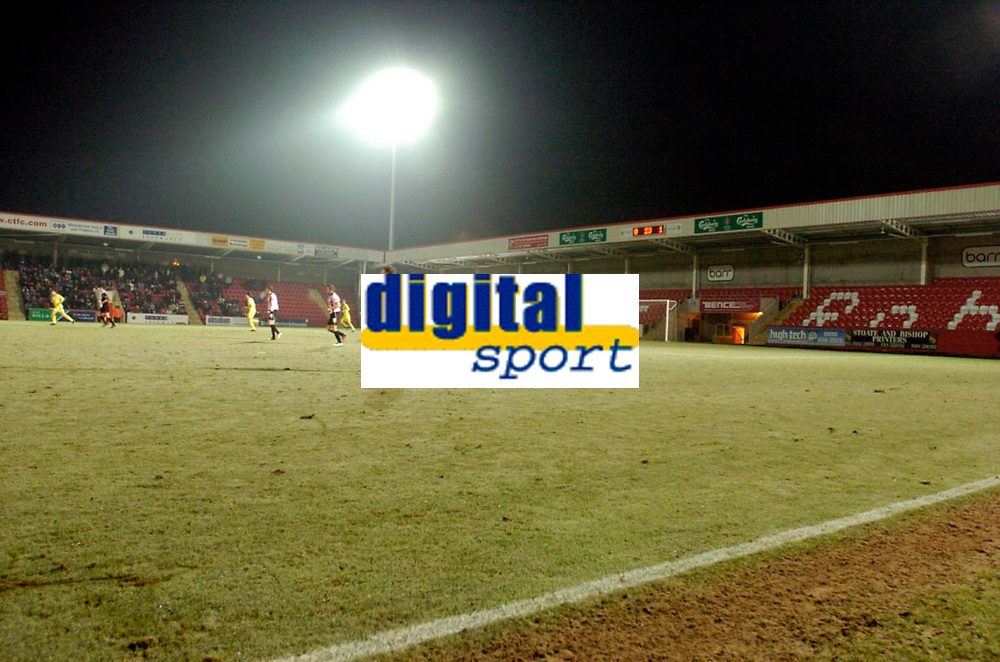 Photo: Leigh Quinnell.<br /> Cheltenham Town v Colchester United. LDV Vans Trophy.<br /> 24/01/2006. Empty stands at Cheltenham tonight but they will be full for the visit of Newcastle.