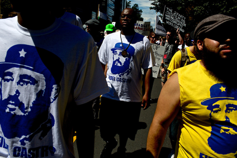 Protestors march with Fidel Castro t-shirts two days before the 2012 Democratic National Convention in Charlotte, N.C. on Sept. 2, 2012.