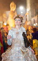 25/10/2015 Vicky McCormack performing in the Macnas parade on the streets of Galway. &lsquo;The Shadow Lighter&rsquo; featured the new Macnas character of Danu &ndash; a 15 ft high wild woman, the shadow lighter mistress of old stories, magic and medicine. Alongside her walked Danu&rsquo;s spirit animal, The Wolf of Danu, a beautiful, strong and fierce wolf, circling around Danu to protect her.  <br /> <br /> DUBLIN MONDAY NIGHT.<br /> Macnas will close the Bram Stoker Festival at twilight on Monday 26th October. In what is set to be another breath-taking citywide procession, Dublin&rsquo;s city streets will transform as the journey of Danu takes place, beginning in 3 city centre locations at 5.30pm with a final gathering in Wolfe Tone Square. This is a deadly adventure given life on the streets of Dublin.  Procession routes will be available to see and download from bramstokerfestival.com .Photo:Andrew Downes, xposure