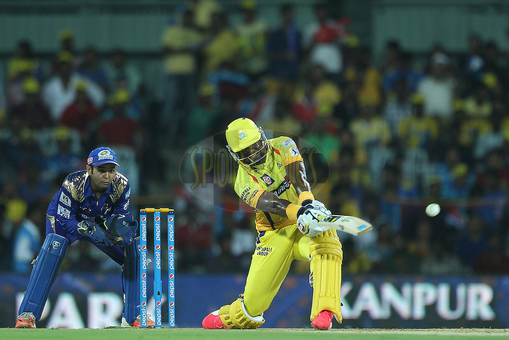 Dwayne Smith of the Chennai Superkings hits out and is caught by Hardik Pandya during match 43 of the Pepsi IPL 2015 (Indian Premier League) between The Chennai Superkings and The Mumbai Indians held at the M. A. Chidambaram Stadium, Chennai Stadium in Chennai, India on the 8th May April 2015.<br /> <br /> Photo by:  Ron Gaunt / SPORTZPICS / IPL