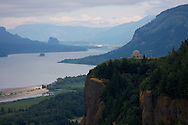 The Vista House overlooks the Columbia River Gorge along the Historic Columbia River Highway east of Portland, Oregon.