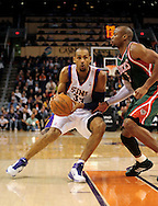 Feb. 2, 2011; Phoenix, AZ, USA; Phoenix Suns forward Grant Hill (33) handles the ball against the Milwaukee Bucks forward Corey Maggette (5) at the US Airways Center. The Suns defeated the Bucks 92-77. Mandatory Credit: Jennifer Stewart-US PRESSWIRE