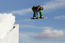 © Licensed to London News Pictures. 29/10/2011, London, UK.  Italy's Marco Grigis jumps during a qualification heat of the FIS Snowboard World Cup Bir Air competition at the Freeze Snowboard and Ski Festival at Battersea Power Station in London, Saturday, Oct. 29, 2011. Photo credit : Sang Tan/LNP