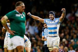 Argentina Lock Tomas Lavanini celebrates after Argentina win the match - Mandatory byline: Rogan Thomson/JMP - 07966 386802 - 18/10/2015 - RUGBY UNION - Millennium Stadium - Cardiff, Wales - Ireland v Argentina - Rugby World Cup 2015 Quarter Finals.