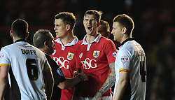 Bristol City's Aden Flint disagrees with a comment from the Referee, Brendan Malone   - Photo mandatory by-line: Joe Meredith/JMP - Mobile: 07966 386802 - 10/02/2015 - SPORT - Football - Bristol - Ashton Gate - Bristol City v Port Vale - Sky Bet League One