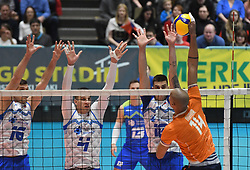 Gregor Ropret, Jan Kozamernik, Klemen Cebulj of Slovenia and Nimir Abdelaziz of Netherlands during friendly volleyball match between National Men teams of Slovenia and Netherlands, on Januar 2nd, 2020, in Dvorana Tabor, Maribor, Slovenia. Photo by Milos Vujinovic / Sportida