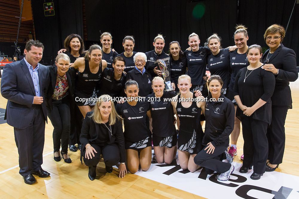 Silver Ferns celebrate with the Taini Jamison trophy after the New World Netball Series - Silver Ferns v Malawi, won by NZ 72-39 at Claudelands Arena, Hamilton, New Zealand, Thursday 31 October 2013. Photo: Stephen Barker/Photosport.co.nz