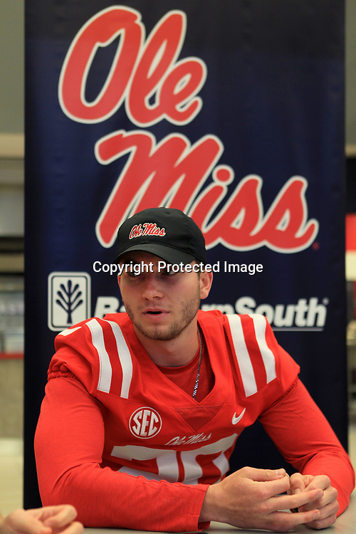 Ole Miss Quarterback Shea Patterson, answers questions about the upcoming season during media day at The Manning Center Wednesday afternoon in Oxford.