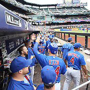 Anthony Rizzo, Chicago Cubs, is congratulated by teammates after scoring a run during the New York Mets Vs Chicago Cubs MLB regular season baseball game at Citi Field, Queens, New York. USA. 2nd July 2015. Photo Tim Clayton