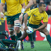 Will Genia, Australia, in action during the South Africa V Australia Quarter Final match at the IRB Rugby World Cup tournament. Wellington Regional Stadium, Wellington, New Zealand, 9th October 2011. Photo Tim Clayton...