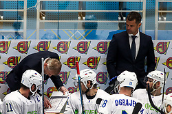 Anze Kopitar of Slovenia, Ivo Jan, head coach of Slovenia and David Rodman of Slovenia during ice hockey match between South Korea and Slovenia at IIHF World Championship DIV. I Group A Kazakhstan 2019, on April 30, 2019 in Barys Arena, Nur-Sultan, Kazakhstan. Photo by Matic Klansek Velej / Sportida