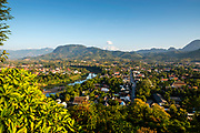 High angle view of Luang Prabang and the Nam Khan River, Laos, from Mount Phousi.