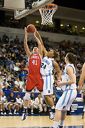 Liberty guard/forward Molly Frazee (41) and Old Dominion forward Jessica Canady (24) battle for a rebound.  The #5 seed Old Dominion Lady Monarchs defeated the #12 seed Liberty Flames 82-62 in the first round of the 2008 NCAA Division 1 Women's Basketball Championship in Norfolk, VA on March 23, 2008